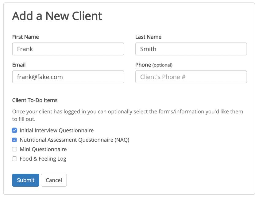 nutri q add new client screenshot