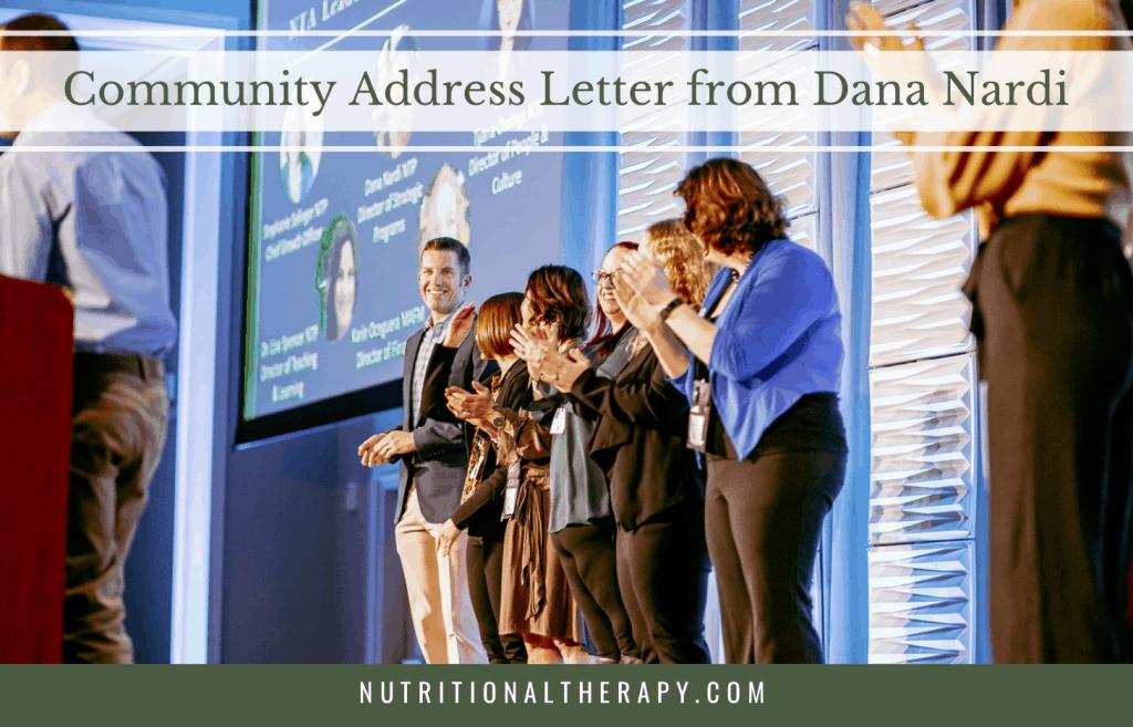 Community Address Letter From Dana Nardi