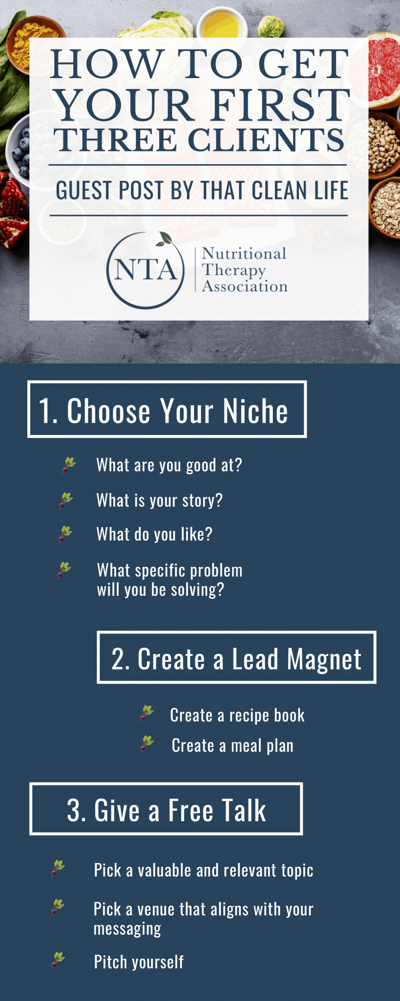 How To Get Your First Three Clients Infographic